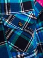Niebieska koszula w kratę z kieszonką z przodu                                  zdj.                                  6