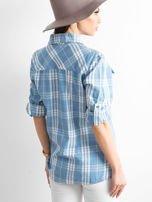 Niebieska koszula w kratkę z podwijanymi rękawami                                  zdj.                                  2