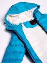 Niebieska kurtka z futrzanym kołnierzem