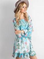 Niebieska kwiatowa sukienka z dekoltem z tyłu                                  zdj.                                  3
