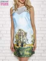 Niebieska malowana sukienka z siateczkowym karczkiem                                  zdj.                                  1