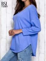 Niebieska melanżowa bluzka z dekoltem na plecach                                  zdj.                                  4