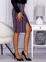 Niebieska pasiasta spódnica midi z zipem                                  zdj.                                  2