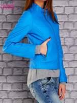 Niebieska skórzana kurtka o klasycznym kroju                                                                          zdj.                                                                         4