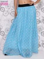 Niebieska spódnica maxi w szare grochy                                  zdj.                                  1