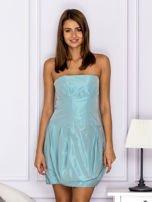 Niebieska sukienka bombka z połyskiem                                  zdj.                                  1