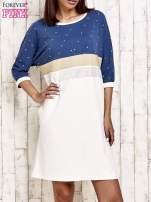 Niebieska sukienka dresowa z kryształkami i dżetami                                  zdj.                                  1
