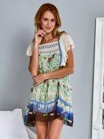 Niebieska sukienka letnia mgiełka w kwiaty                                  zdj.                                  2