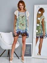 Niebieska sukienka letnia mgiełka w kwiaty                                  zdj.                                  4