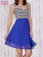 Niebieska sukienka z górą w paski                                  zdj.                                  1