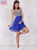 Niebieska sukienka z górą w paski                                                                          zdj.                                                                         2