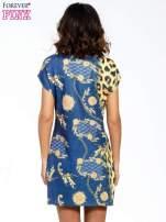 Niebieska sukienka z panterkowym nadrukiem                                                                          zdj.                                                                         4