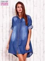 Niebieska sukienkokoszula z kieszeniami i podwijanymi rękawami                                  zdj.                                  1
