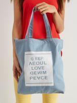 Niebieska torba materiałowa z nadrukiem                                  zdj.                                  1