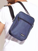 Niebieska torba męska materiałowa                                  zdj.                                  4