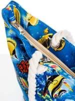 Niebieska torba plażowa z nadrukiem rafy koralowej                                  zdj.                                  5