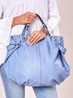Niebieska torba shopper z geometrycznymi modułami                                  zdj.                                  3
