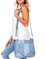 Niebieska torba z łączonych materiałów                                  zdj.                                  1