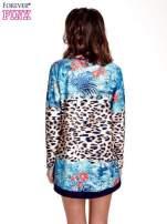 Niebieska tunika z motywem animal print