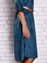 Bordowa zamszowa sukienka z rozcięciami po bokach                                                                          zdj.                                                                         7