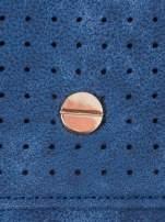Niebieski ażurowany portfel ze złotym zapięciem                                  zdj.                                  5