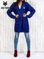 Niebieski długi sweter z wiązaniem                                  zdj.                                  7
