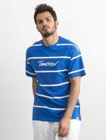 Niebieski męski t-shirt w paski                                  zdj.                                  3
