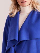 Niebieski płaszcz z kieszeniami i wiązaniem                                  zdj.                                  6