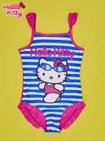 Niebieski strój kąpielowy w paski dla dziewczynki HELLO KITTY                                                                          zdj.                                                                         1