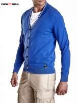 Niebieski sweter męski na guziki Funk n Soul