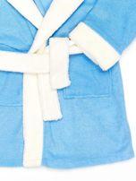 Niebieski szlafrok dziewczęcy MIŚ z kapturem i uszami                                  zdj.                                  4
