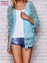 Niebieski szydełkowy otwarty sweterek                                  zdj.                                  1