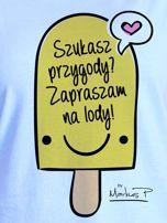 Niebieski t-shirt damski SZUKASZ PRZYGODY? by Markus P                                  zdj.                                  2