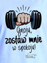 Niebieski t-shirt damski ZOSTAW MNIE by Markus P                                  zdj.                                  2