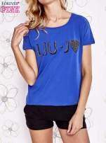 Niebieski t-shirt z napisem LIU J❤