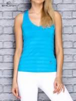 Niebieski top sportowy V-neck w paseczki