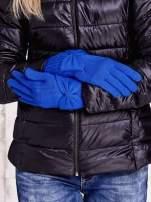 Granatowe długie rękawiczki z kokardą i prążkowanym ściągaczem