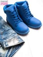 Niebieskie jednolite buty trekkingowe damskie traperki ocieplane                                                                          zdj.                                                                         2