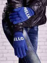 Czarne rękawiczki HELLO na pięć palców z wywijanym ściągaczem                                                                          zdj.                                                                         3