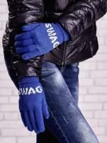 Niebieskie rękawiczki SWAG na pięć palców z wywijanym ściągaczem                                  zdj.                                  3