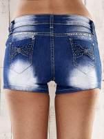 Niebieskie szorty jeansowe z kokardami na kieszeniach                                  zdj.                                  2