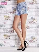 Niebieskie szorty jeansowe z wysokim stanem                                  zdj.                                  4
