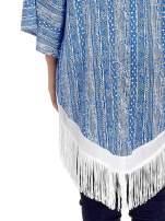 Niebieskie wzorzyste kimono z frędzlami w stylu boho                                  zdj.                                  5