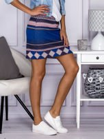 Niebiesko-różowa spódnica w azteckie wzory                                  zdj.                                  1