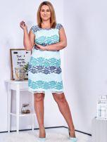 Niebiesko-zielona koronkowa sukienka PLUS SIZE                                  zdj.                                  4