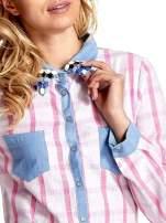 Niebieskoróżowa koszula w kratę z biżuteryjnym kołnierzykiem                                  zdj.                                  6