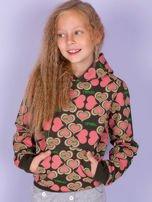 O'NEILL Khaki-koralowa bluza dla dziewczynki w serduszka                                  zdj.                                  2