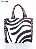 PINKO Ecru torba shopper ze wzorem zebry                                  zdj.                                  1