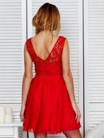 Plisowana sukienka z koronkową górą czerwona                                  zdj.                                  2