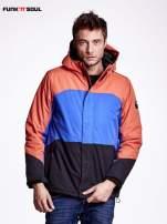 Pomarańczowa kurtka męska z kolorowymi modułami FUNK N SOUL                                  zdj.                                  1